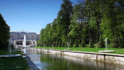 Grand Palace and Sea Channel in Peterhof, St. Petersburg