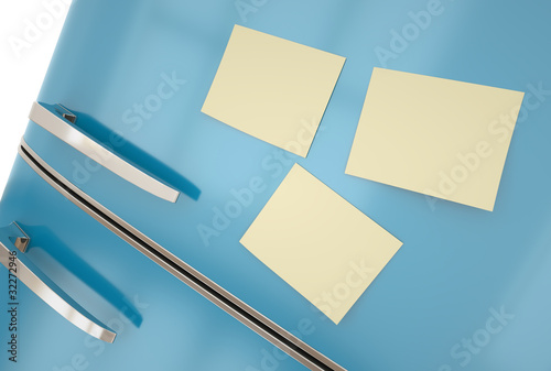 Blue fridge with yellow sticky notes
