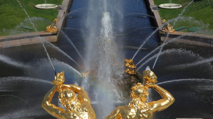 channel with fountains pouring from his sides, Peterhof