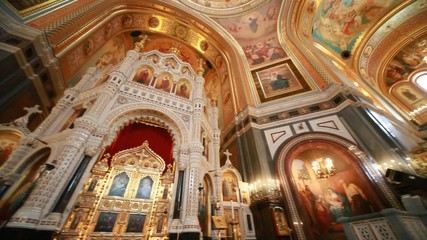 iconostasis in Christ Savior Cathedral in Moscow