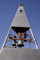 Modern belltower of a church
