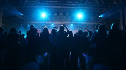 Silhouette of people who look concert  and records it on camera