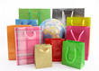 Shopping bags around of the world globe
