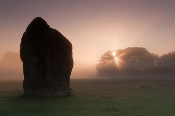 Avebury stone in Wilshire ,sunrise