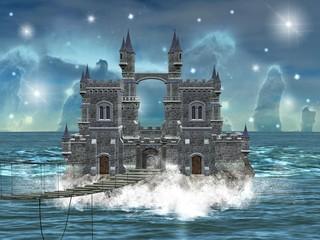 Castello in mezzo al mare con ponte di legno