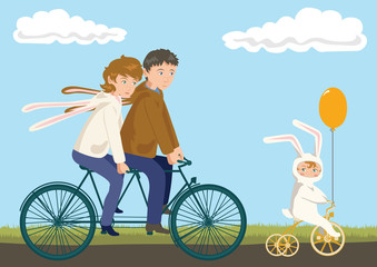 Family Cycling: Father, Mother and Child