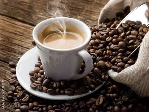 Poster Koffie hot coffee - caffe fumante