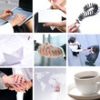A collage of business images with people shaking hands