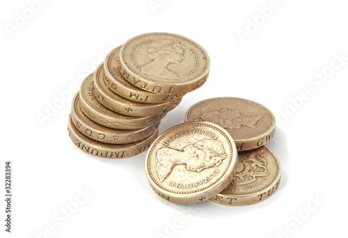 British, UK, pound coins on a plain white background.