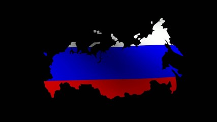 Waving Map-Shaped Russia national flag