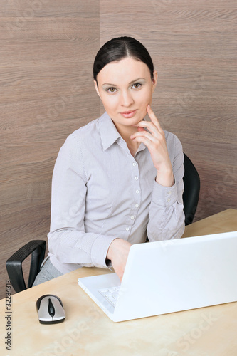 Portrait of a beautiful young businesswoman on the computer, lis