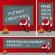 Weihnachtsmann schreibt Grüße an Tafel