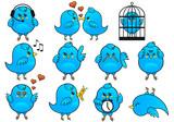 blue bird icon set, vector