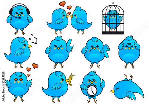 Keuken foto achterwand Vogels in kooien blue bird icon set, vector