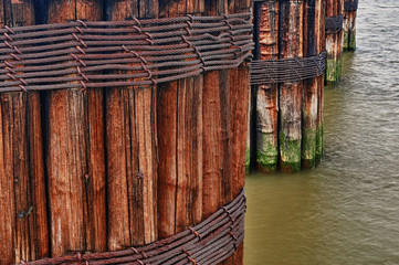Old Pier Pilings on the Hudson River in New York City
