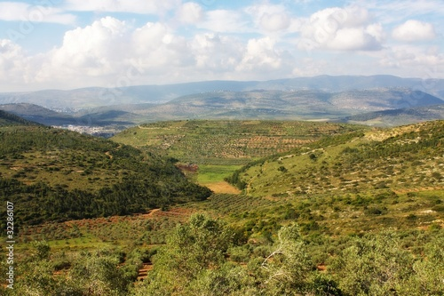 aerial view of Galilee and Jordan valley, Israel