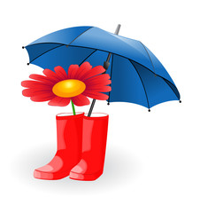 Umbrella and flower in rubber boots
