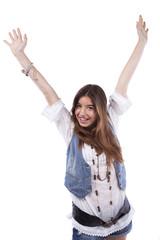 Happy teenager woman