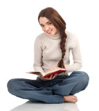 smiling young black hair woman reading book