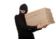 female thief in balaclava with boxes of pizza.