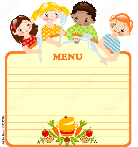 kids with spoons.menu. place for your text. - 32297914