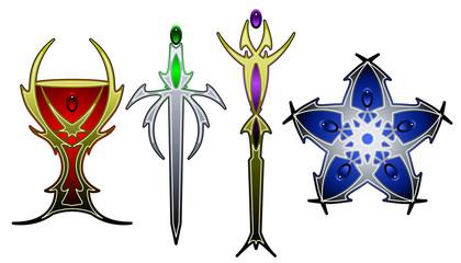 Tarot symbols in color