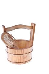 Brush in a wooden bucket