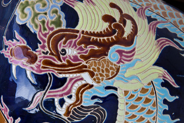 Colorful ceramic dragon