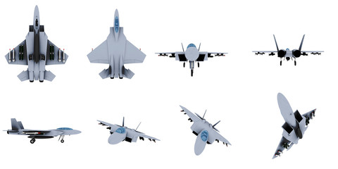3d military airplane set