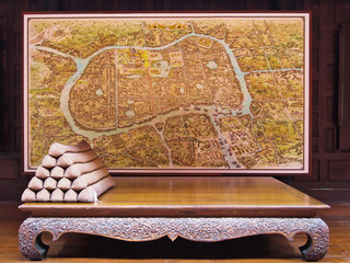 Wood Chair & Map of Ayutthaya , old kingdom of Thailand