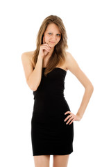 Portrait of sexy woman in elegant dress