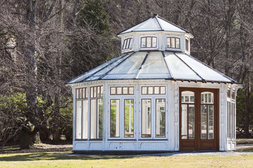 A gazebo in the botanical garden waiting for the summer