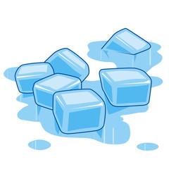 Puddle of melting ice cubes