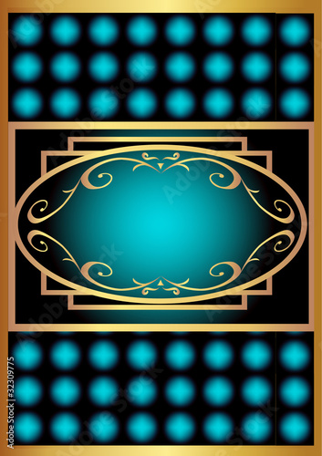 blue with gold(en) label with rhombus poster