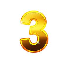 3 - trois - chiffre en OR