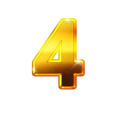 4 - quatre - chiffre en OR