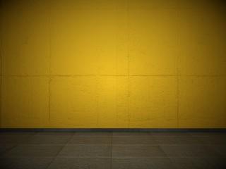 Wohndesign - orangene Wand mit Steinboden