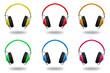 Leinwandbild Motiv Kopfhörer bunt in verschiedenen Farben