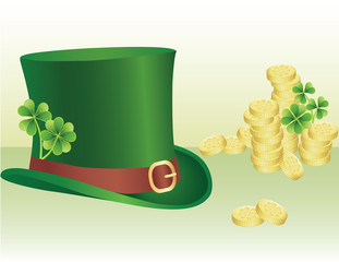 Pile of coins and leprechaun's hat