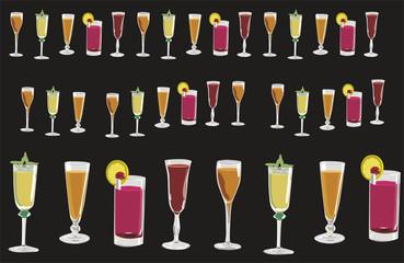 Copas y vasos con direbtes tipos de bebidas