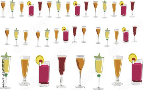 Copas y vasos con direbtes tipos de bebidas fotos de for Copas y vasos para bar