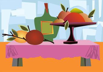 Ilustracion con comida en la mesa