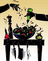 Ilustracion de comida en la mesa
