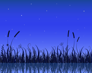Vector Illustration of Lake Night Scene With Grass Silhouette