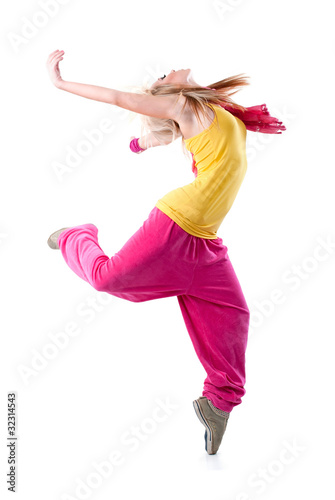 dancing girl. isolated on a white background. .