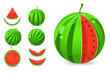 Juicy Whole and Sliced Watermelon Icon Set