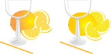 Glasses and pieces of lemon and orange