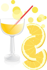 Glass with juice and pieces of orange