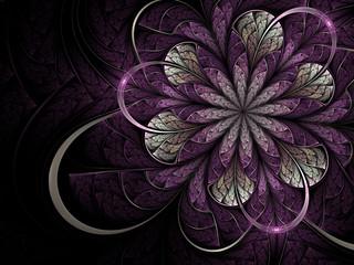 Bright violet fractal flower on dark background