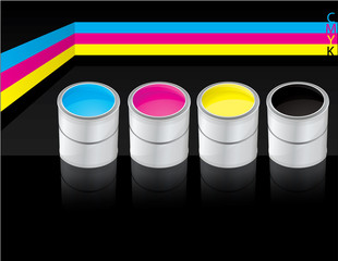 Metal buckets with four process color cmyk on black background